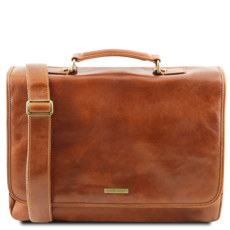 Mantova - Leather multi compartment briefcase with flap TL141450 Business Tuscany Leather