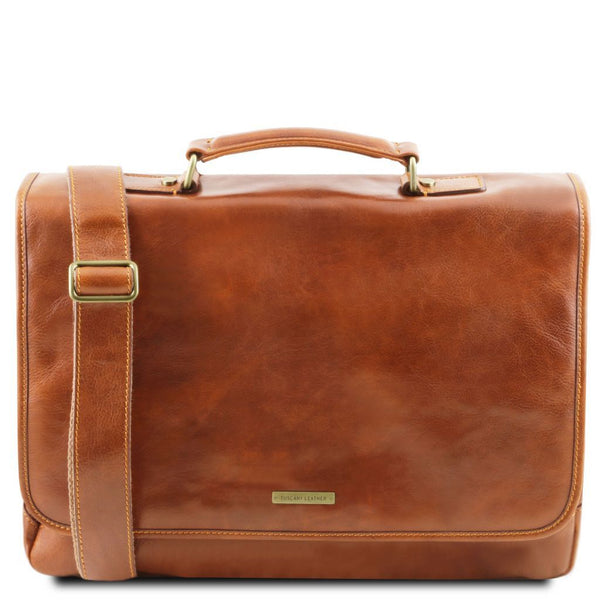 Mantova - Leather multi compartment TL SMART briefcase with flap TL141450 Tuscany Leather - getanybag.com