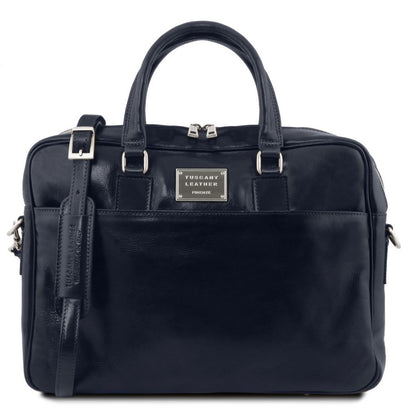 Urbino - Leather laptop briefcase with front pocket TL141241 Tuscany Leather - getanybag.com