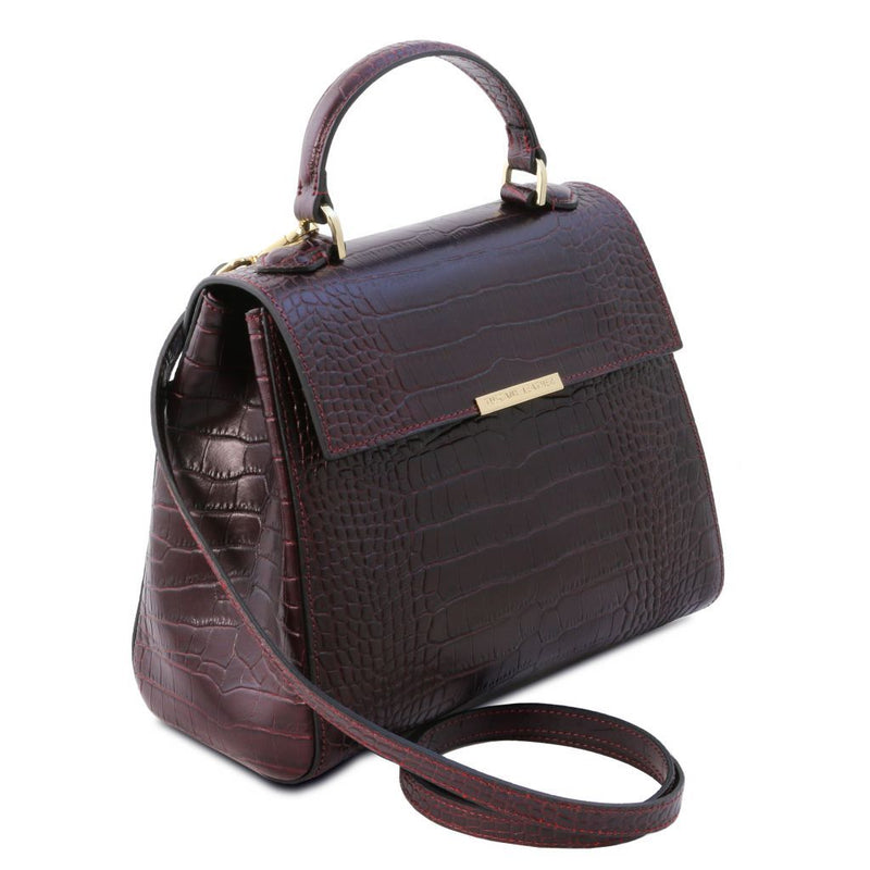 TL Bag - Small croc print leather duffel bag TL141887 Women Bags Tuscany Leather