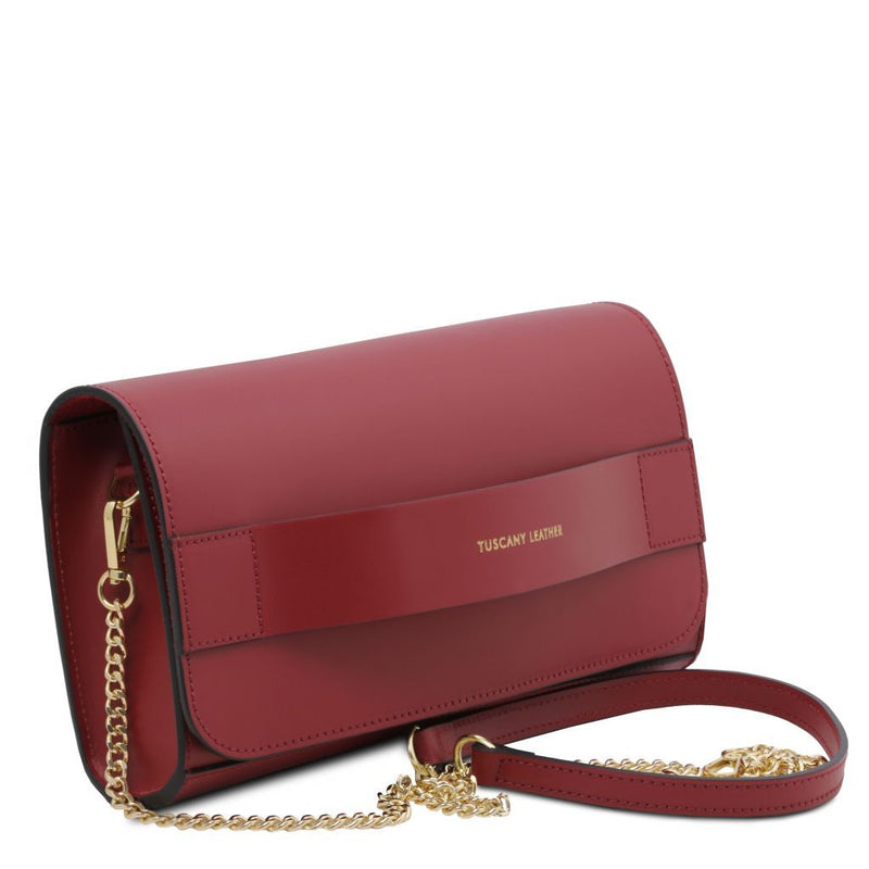 Giulia - Leather clutch with chain strap TL141970 Women Bags Tuscany Leather