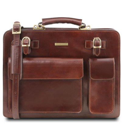 Venezia - Leather briefcase 2 compartments TL141268 Tuscany Leather - getanybag.com