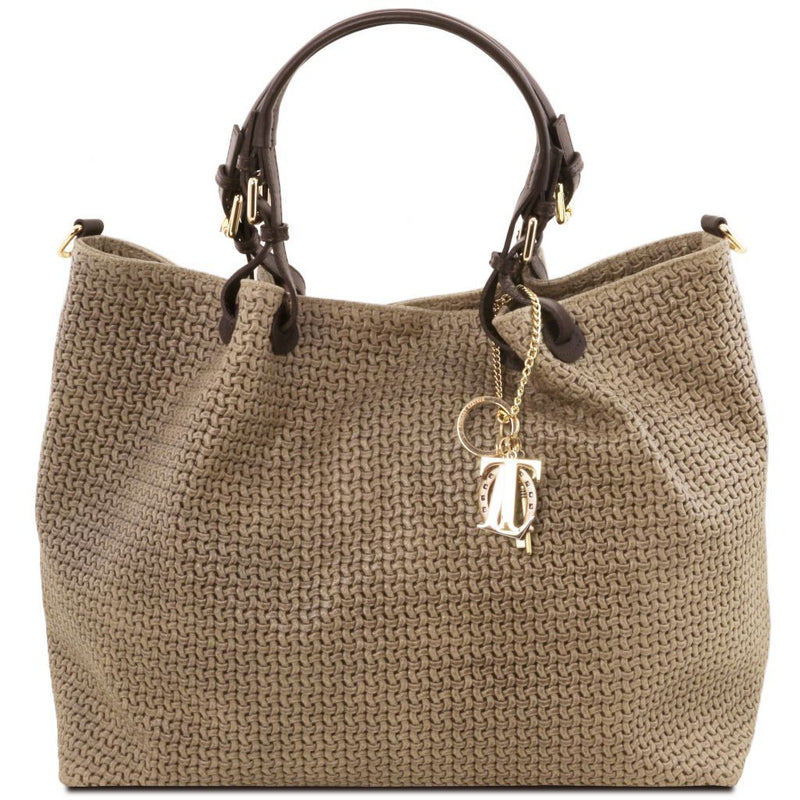 TL KeyLuck - Woven printed leather TL SMART shopping bag - Large size TL141568 Women Bags Tuscany Leather