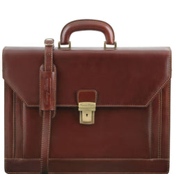 Napoli - 2 compartments leather briefcase with front pocket Business Tuscany Leather