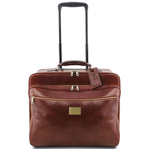 Varsavia - Leather pilot case with two wheels TL141888 Luggage Tuscany Leather