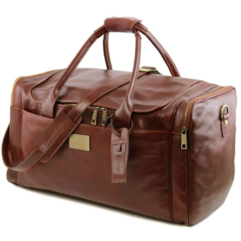 TL Voyager - Travel leather bag with side pockets - Large size TL141281 Luggage Tuscany Leather