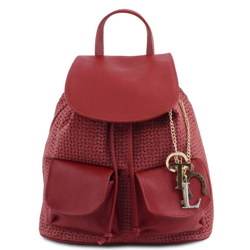 TL KeyLuck - Woven printed leather backpack TL141886 Women Bags Tuscany Leather
