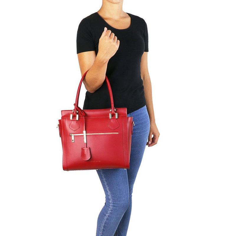 Lara - Leather handbag with front zip TL141644 Women Bags Tuscany Leather