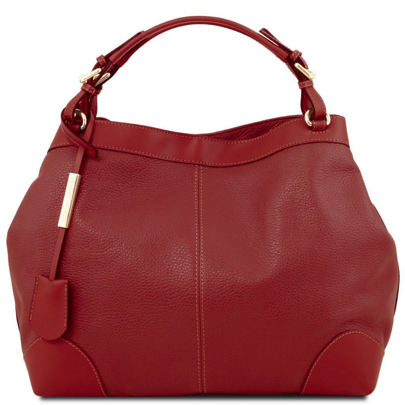 Ambrosia - Soft leather shopping bag with shoulder strap TL141516 Women Bags Tuscany Leather