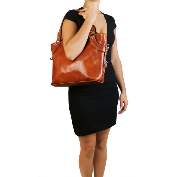 Ilenia - Leather shoulder bag TL140899 Women Bags Tuscany Leather