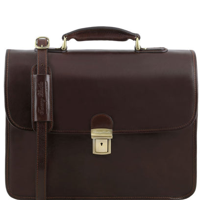 Vernazza - Leather briefcase with Laptop compartment 3 compartments TL141354 Tuscany Leather - getanybag.com