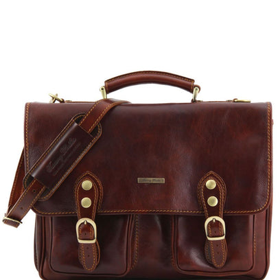 Modena - Leather briefcase 2 compartments TL141134 Tuscany Leather - getanybag.com