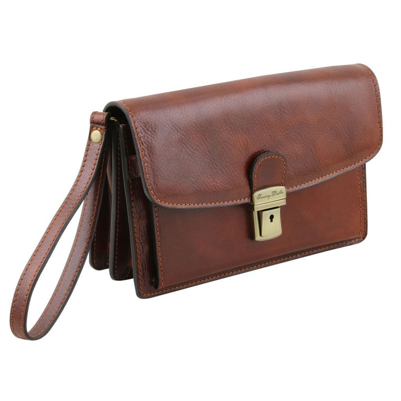 Arthur - Exclusive leather handy wrist bag for man TL141444 Men Bags Tuscany Leather