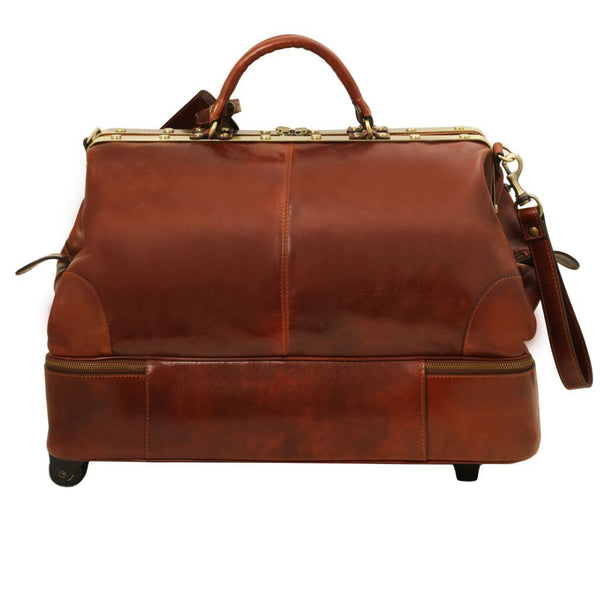 Siviglia - Two wheels double-bottom Gladstone leather bag TL141451 Luggage Tuscany Leather
