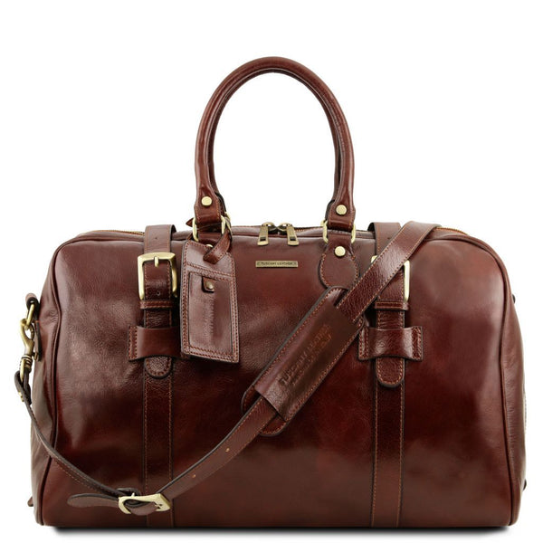 TL Voyager - Leather travel bag with front straps - Small size TL141249 Luggage Tuscany Leather