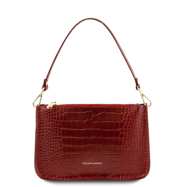 Cassandra - Croc print leather clutch handbag TL141917 Women Bags Tuscany Leather