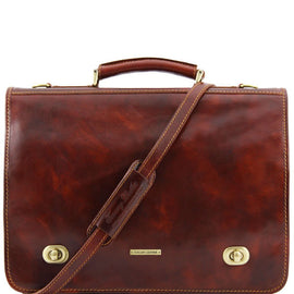 Siena - Leather messenger bag 2 compartments TL10054 Tuscany Leather - getanybag.com