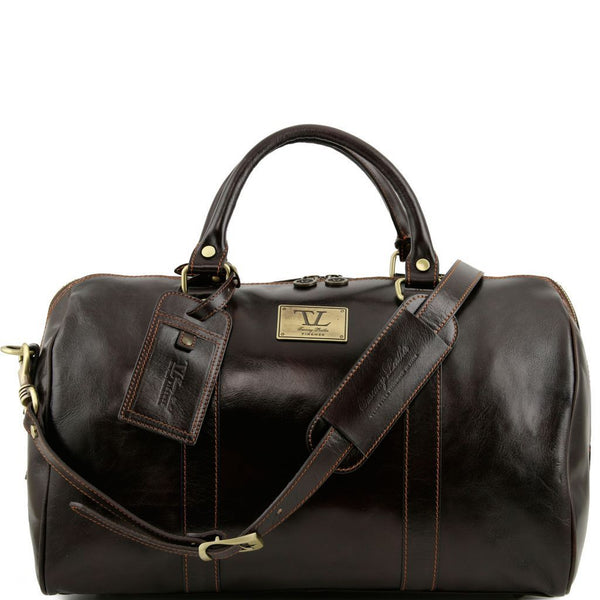 TL Voyager - Travel leather duffle bag with pocket on the back side - Small size TL141250 Luggage Tuscany Leather