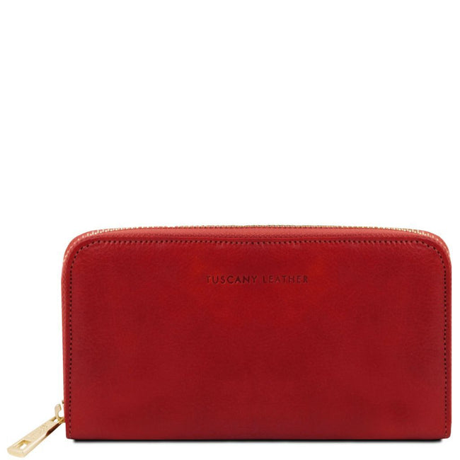 Exclusive leather accordion wallet with zip closure TL141206 Tuscany Leather - getanybag.com