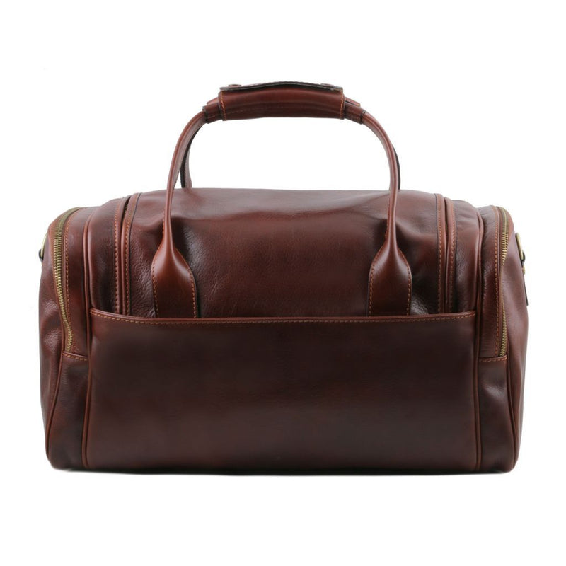 TL Voyager - Travel leather bag with side pockets - Small size TL141441 Luggage Tuscany Leather