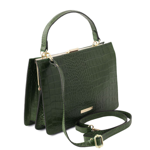 Iris - Croc print leather handbag TL141839 Women Bags Tuscany Leather