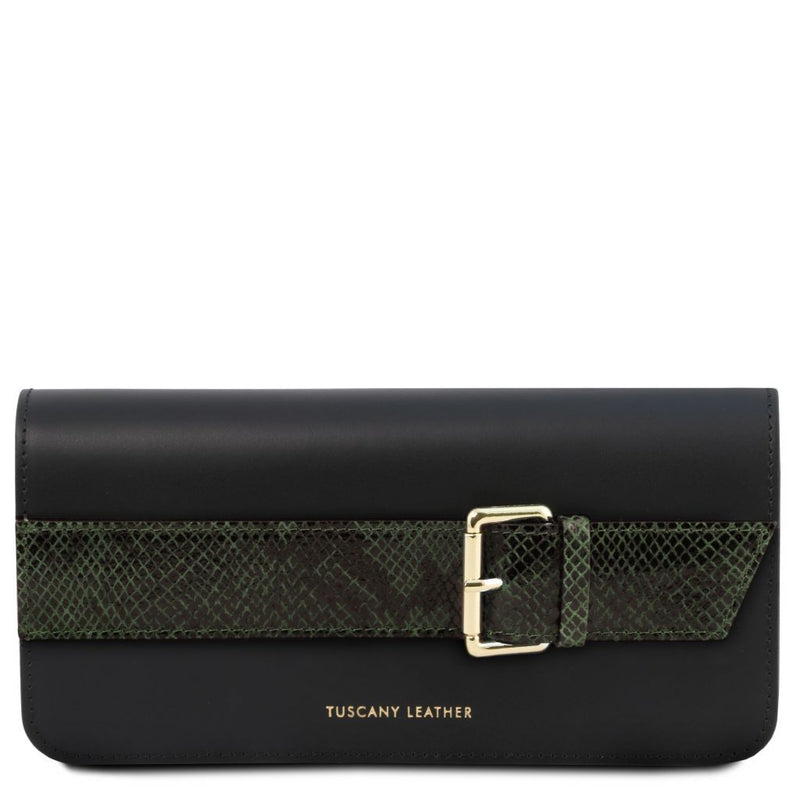 Demetra - Leather clutch with chain strap TL141814 Women Bags Tuscany Leather