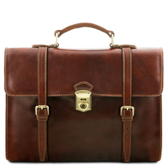 Viareggio - Exclusive leather laptop case with 3 compartments TL141558 Tuscany Leather - getanybag.com