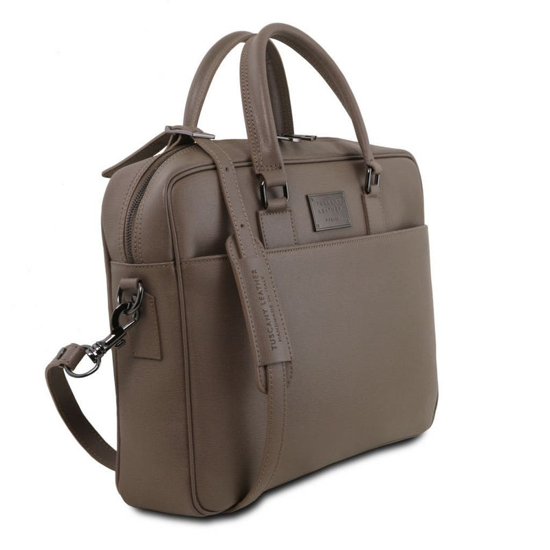 Urbino - Saffiano leather laptop briefcase with front pocket TL141627 Business Tuscany Leather