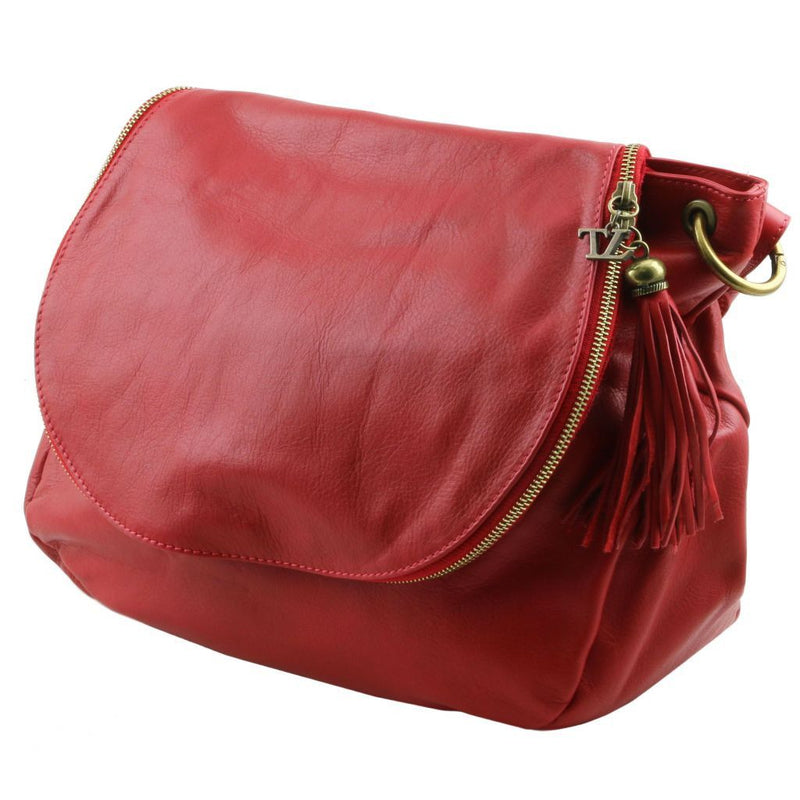 TL Bag - Soft leather shoulder bag with tassel detail TL141110 Women Bags Tuscany Leather