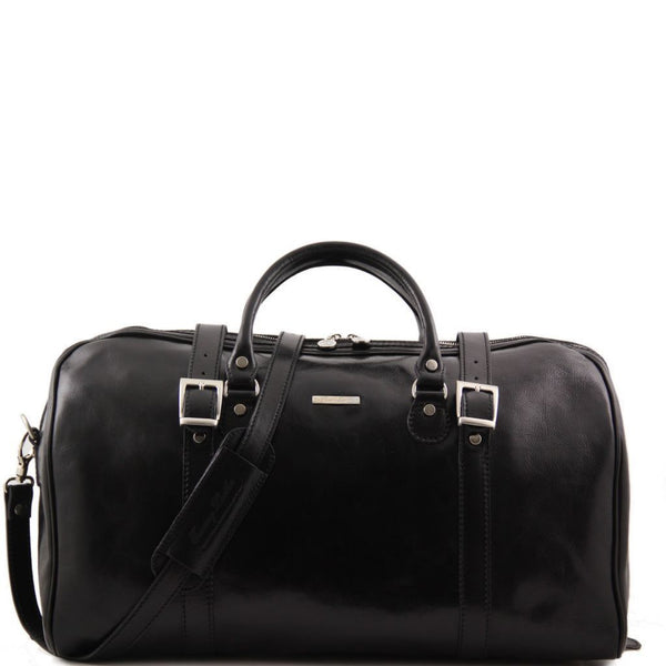 Berlin-Travel leather duffle bag with front straps-Large size TL1013 Luggage Tuscany Leather