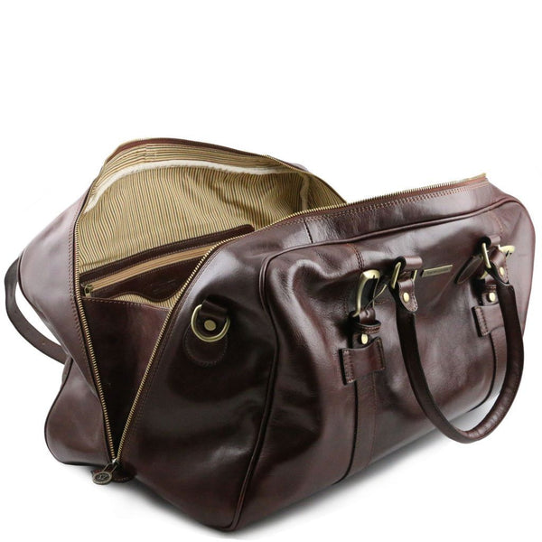 TL Voyager - Leather travel bag with front straps - Large size TL141248 Luggage Tuscany Leather