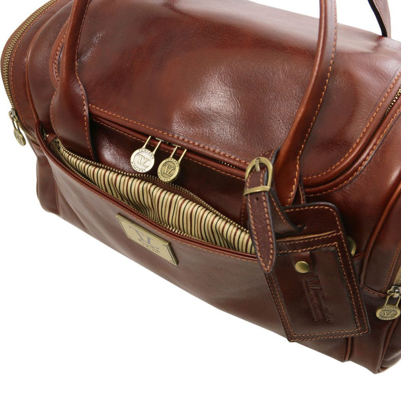 TL Voyager - Travel leather bag with side pockets - Small size TL141441 - getanybag.com