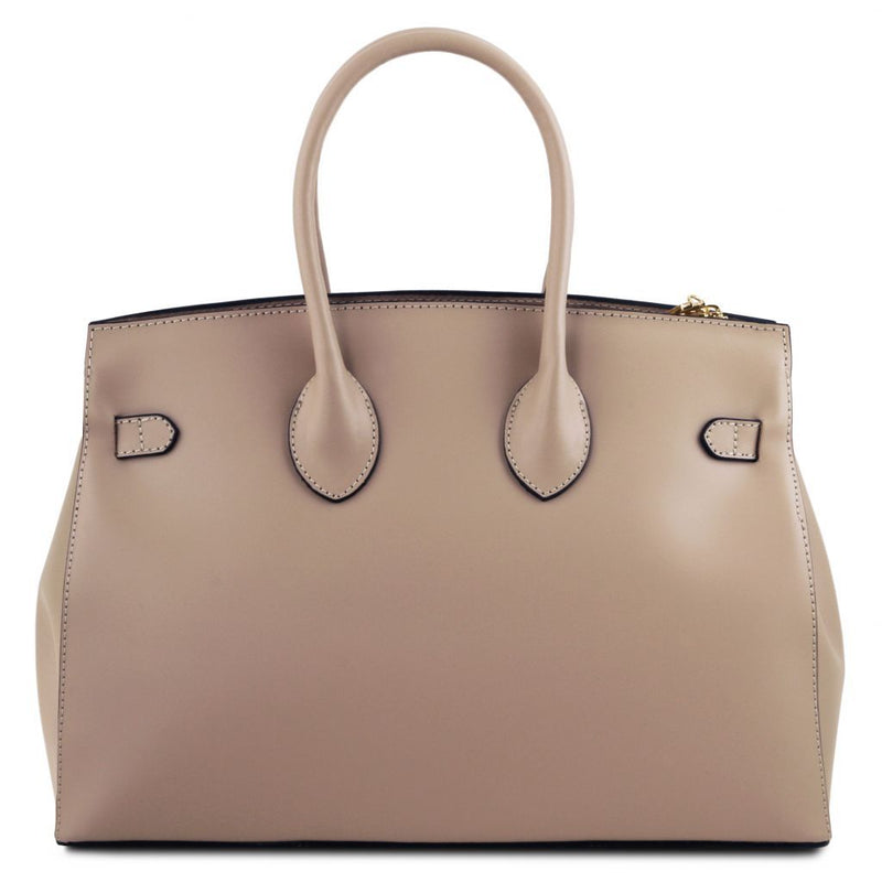 Elettra - Leather handbag with golden hardware TL141548 Women Bags Tuscany Leather