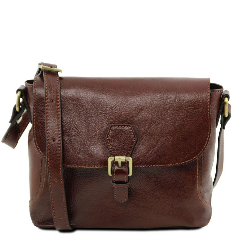 Jody - Leather shoulder bag with flap TL141278 Women Bags Tuscany Leather