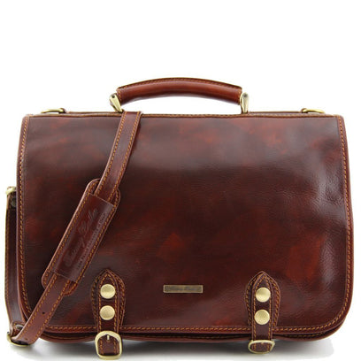 Capri - Leather messenger bag 2 compartments TL10068 Tuscany Leather - getanybag.com