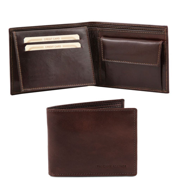 Exclusive leather 3 fold wallet for men with coin pocket TL140763 Tuscany Leather - getanybag.com