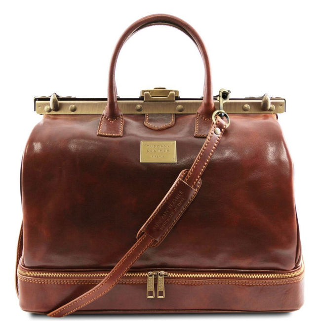 Barcellona - Double-bottom Gladstone Leather Bag TL141185 Tuscany Leather - getanybag.com