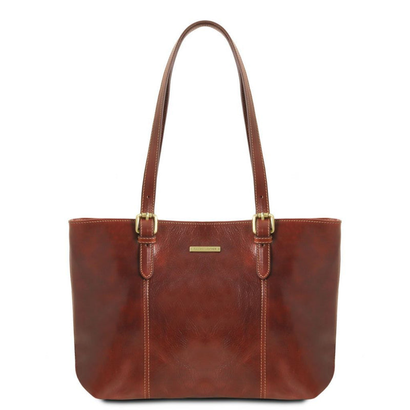 Annalisa - Leather shopping bag with two handles TL141710 Women Bags Tuscany Leather