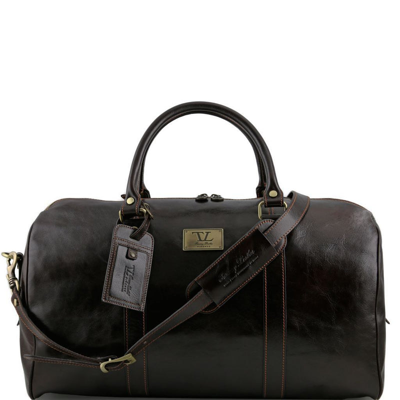 TL Voyager - Travel leather duffle bag with pocket on the backside - Large size TL141247 - getanybag.com