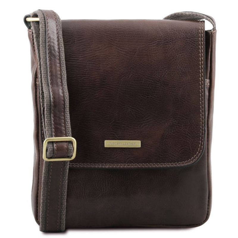 John - Leather crossbody bag for men with front zip TL141408 Men Bags Tuscany Leather