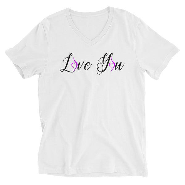 """Love You"" Unisex Short Sleeve V-Neck T-Shirt"