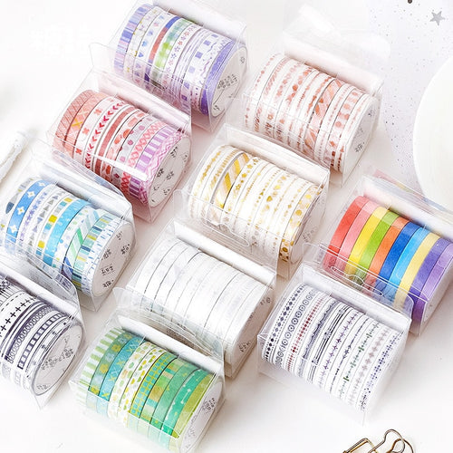 10pcs/set Black Foiled Washi Tape Japanese Paper DIY Planner Masking Tape Adhesive Tapes Stickers Decorative Stationery Tapes