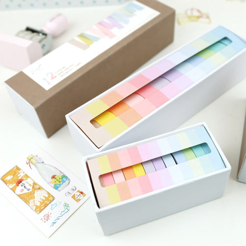 12 Pcs/lot 7.5 x 3m Rainbow Decorative Adhesive Tape Masking Washi Tape Decoration Diary School Office Supplies Stationery