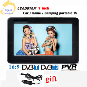 LEADSTAR D7 7 inch led tv digital player DVB-T T2 Analog all in one MINI TV Support USB TF TV programs Car charger gift
