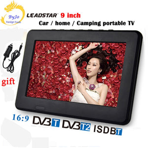 LEADSTAR D9 9 inch LED TV digital player DVB-T T2 Analog all in one MINI TV Support USB TF TV programs Car charger gift