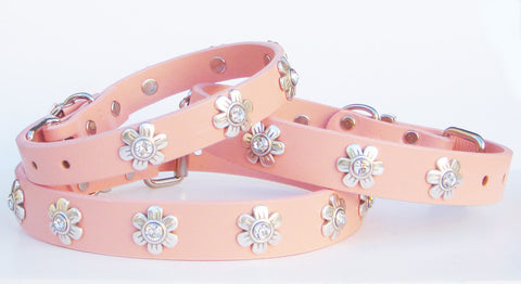 Crystal Flowers on Pink Leather