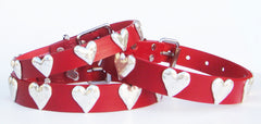 Hammered Hearts on Red Leather