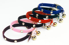 Suede Rhinestone Cat Collars