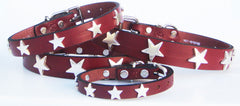 Silver Stars on Burgundy Leather