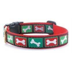 Red and Green Bone Collar and Leash